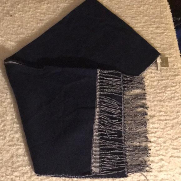 J. Crew Blanket Scarf Navy Blue Gray Wool